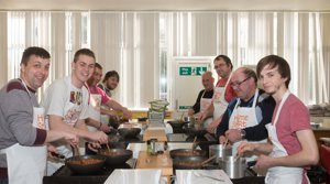 A group of dads at Home-Start Glenrothes Dads cooking group