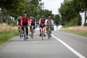 Cyclists riding the Paris to Geneva challenge