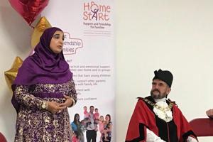 Home-Start Camden & Islington team member speaking at launch. With Lord Mayor of Islington.